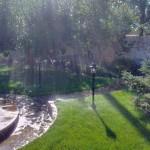 автоматическое орошение лужайки перед домом Фото