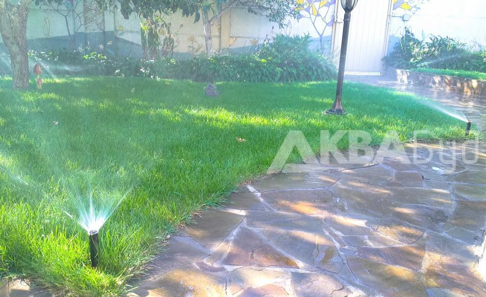 Автополив газона в Слободе Фото дождеватель