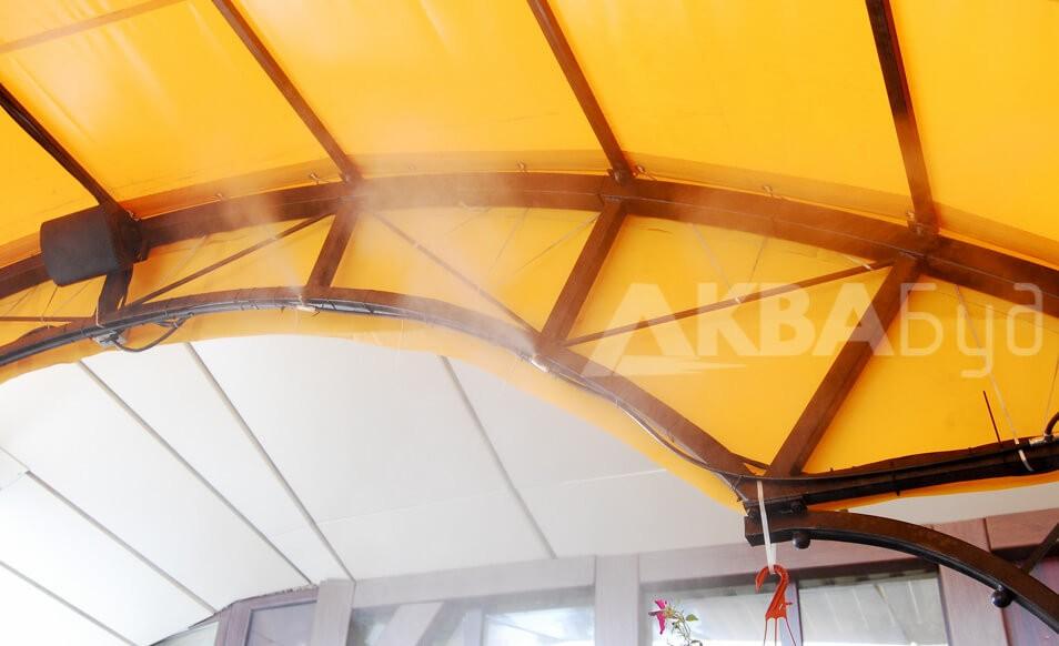 """Система туманообразования внутри летней площадки ресторана """"Старгород"""""""